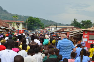 Community parade welcomes Project1808 to Kabala, Sierra Leone